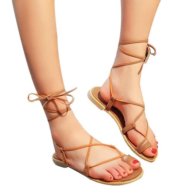 Sandalen Damen,Binggong Frauen Kreuzband Römischen Gladiator