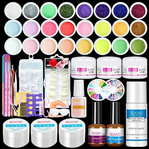 BUKAKI Acrylic Nail Kit – Nail Acrylic Powder and Liquid Set with Acrylic Nail Brush Glitter Powder Nail Supplies Kit…