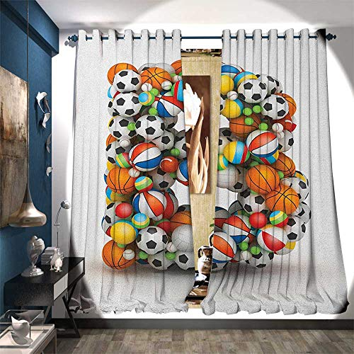 Price comparison product image BlountDecor Room Darkening Wide Curtains Tennis Volleyball Football Basketball Baseball Games Alphabet with Athletics Theme Customized Curtains W120 x L84 Multicolor