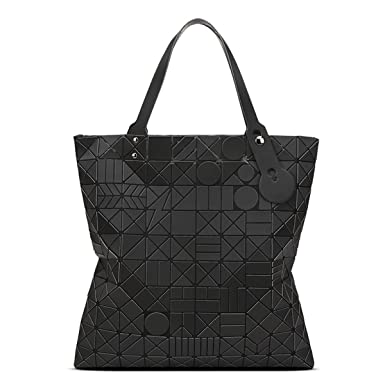 Damen Matte Geometrische Falttasche Mode Schultertasche,Grey-OneSize ADEFG