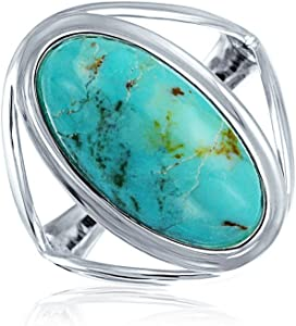 Women wear 925 Silver Ring Natural Turquoise Gemstone 925 Solid Sterling Silver Ring Jewelery Statement Ring,Oval Ring US 7.14 size