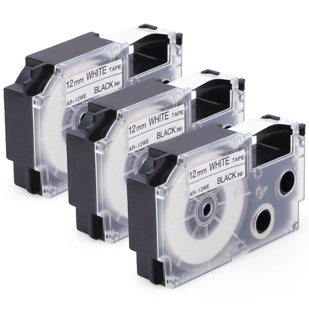 3x Schriftband f/ür Casio XR12WE XR 12WE Etikettenband Kassetten Kompatibel Casio Ez-Label Etikettierger/äte KL-60 KL-820 KL-7400 Schwarz auf Wei/ß 12mm x 8m