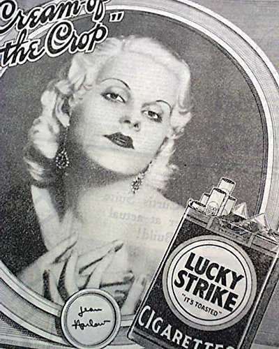 JEAN HARLOW Hollywood Film Actress & Sex Symbol CIGARETTES Ad 1932 Old Newspaper THE NEW YORK TIMES, January 5, 1932