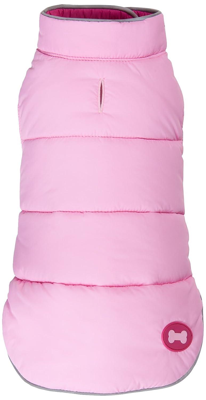 Fab Dog Reversible Puffer Vest Dog Jacket, Hot Pink Light Pink, 12-Inch Length