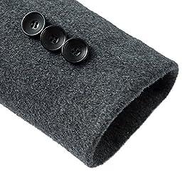 DAVID.ANN Men\'s Wool French Coat Slim Fit Long Jacket Single Breasted Overcoat,Grey,Medium