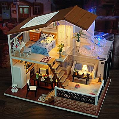 Amazon Com Wyd Diy Sunshine Doll House Handmade Wooden Dollhouse