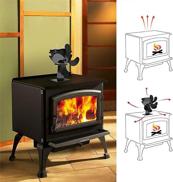 YOUGL Ventilador de Estufa de 4 Palas Alimentado por Calor ...
