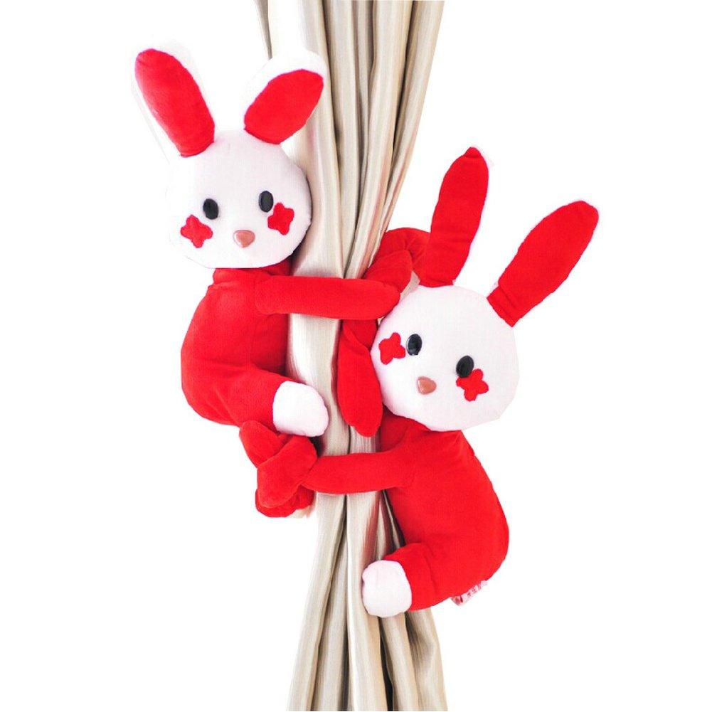 Ayygift 1ペアホームファッションキュートなウサギおもちゃウィンドウカーテン留め飾りカーテンバックルaccessories-red   B00OMOH7X8