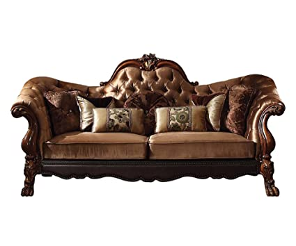 Acme Furniture ACME Dresden Golden Brown Velvet Sofa With 7 Pillows
