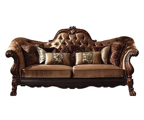 Amazon.com: ACME Dresden Golden Brown Velvet Sofa with 7 ...