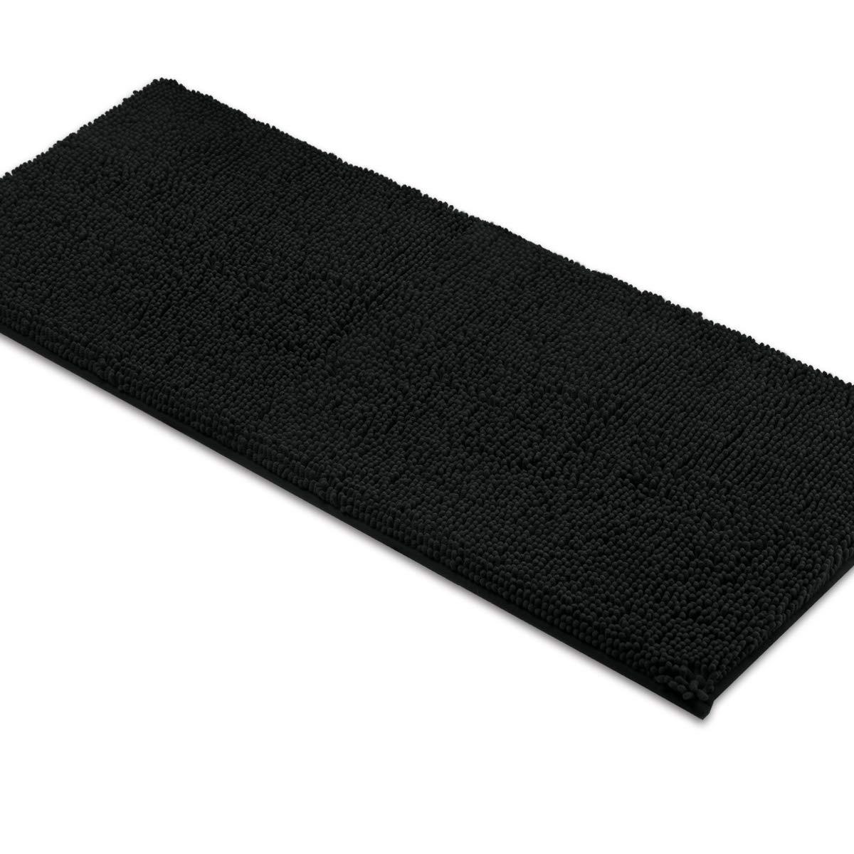 MAYSHINE Non-Slip Bathroom Rugs Shag Shower Mat Machine-Washable Bath mats Runner with Water Absorbent Soft Microfibers - 27.5x47 inch Black MS170325