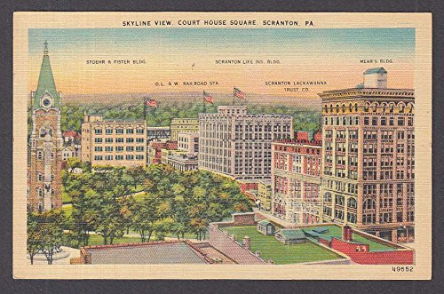 (Skyline View Court House Square Scranton PA postcard 1951 Stoehr Fister Mear's +)