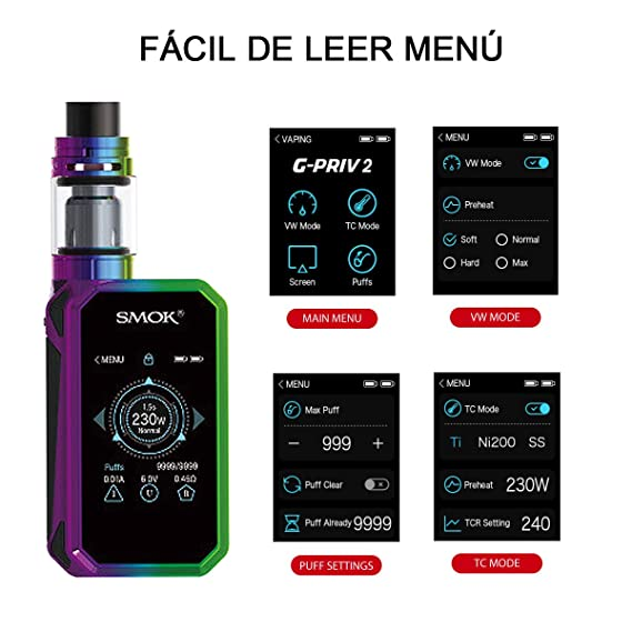 Auténtico kit SMOK G Priv 2 Pantalla táctil 2ML de la UE Kit de inicio de cigarrillo E con batería 2 w/Efest 2 * 18650 3000mAh, sin e-líquido, ...