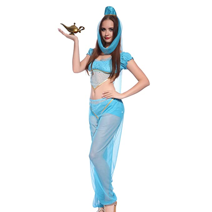 Top Quality 2018 Arabian Princess Jasmine Aladdin Costume Adult Women Halloween Cosplay Sexy Belly Dance Dress Plus Size S-xxl Home