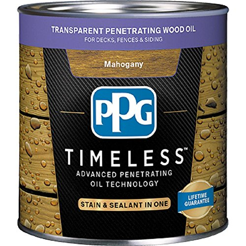 (PPG TIMELESS 1 gal. TPO-10 Mahogany Transparent Penetrating Wood Oil Exterior Stain Low VOC)