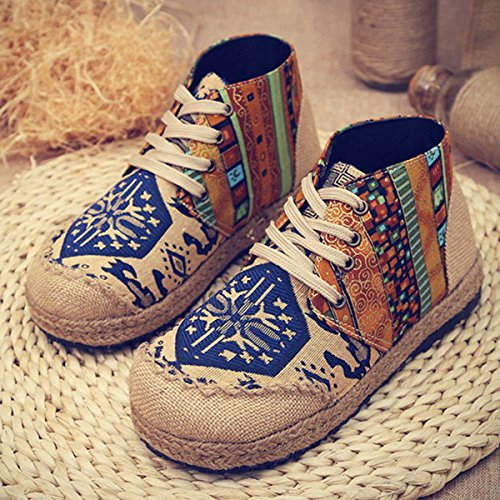 Blue Women's Comfortable Boots Colorful Flat Ankle Pattern Boots Casual Canvas Gracosy Vintage Retro Shoes OUEwqSBO