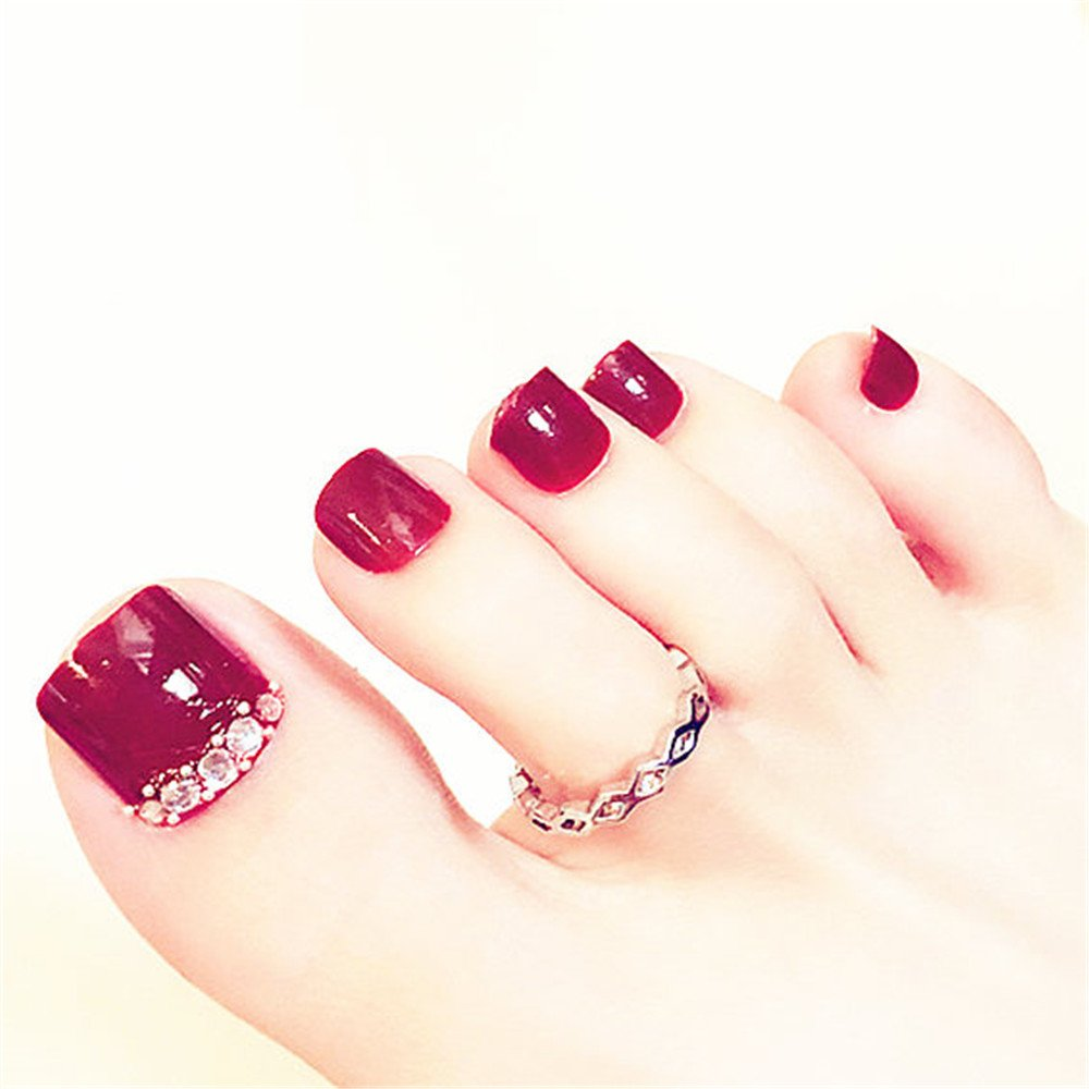 BloomingBoom 24 Pcs 12 Sizes Full Cover False Fake Nail Toes Toenail Artificial Design Nail Art Tips French Style Wine Red Rhinestone Crystal