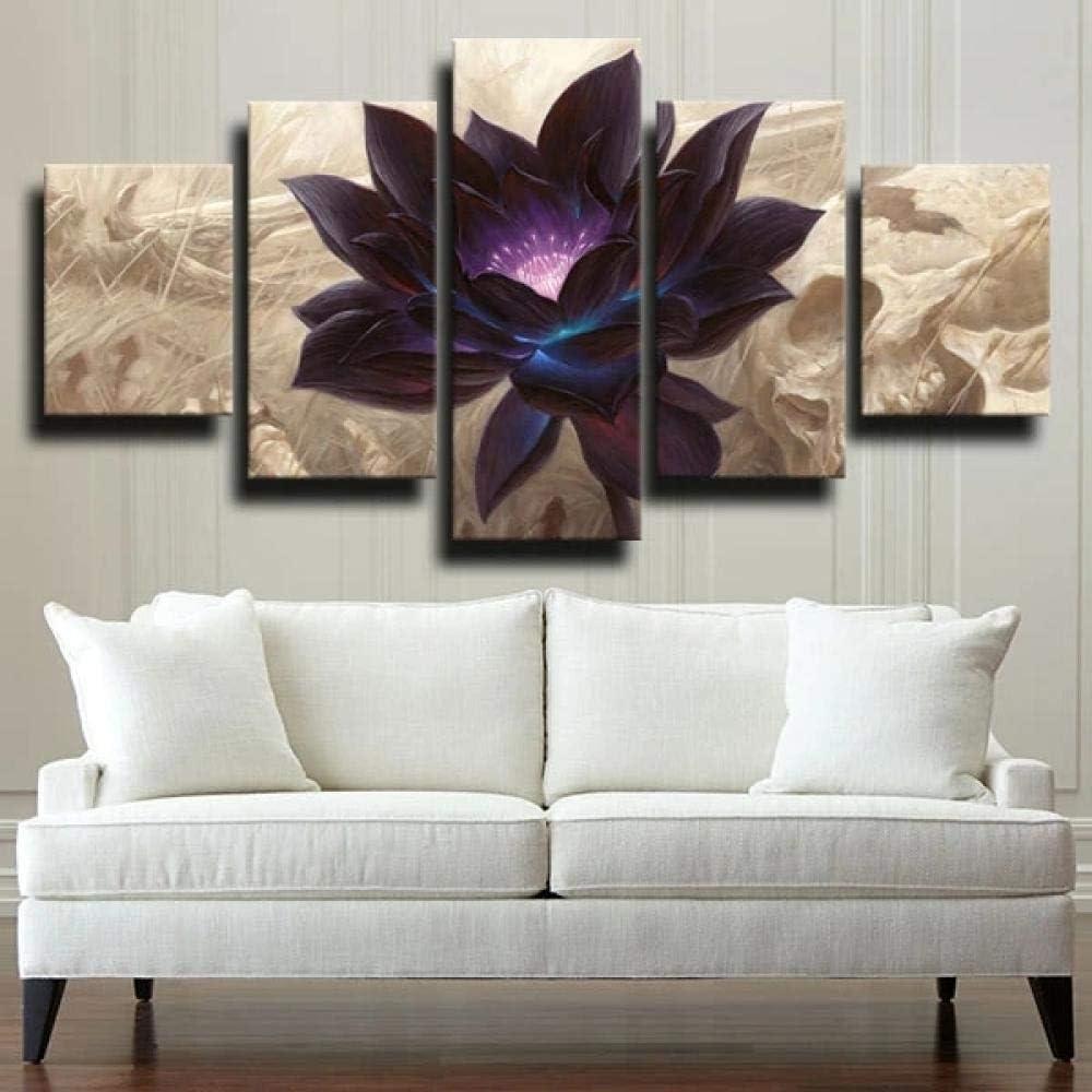 45Tdfc 5 Piezas Arte Pared Lienzo Naturaleza de Flor Abstracta de Loto Negro HD Pintura Cartel ImpresióN -Wall Lona Paintings -Escena Sala Estar Oficina DecoracióN