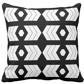 Schwarz und Weiß Polygon Geometrie Muster Kissenbezug Fall ...