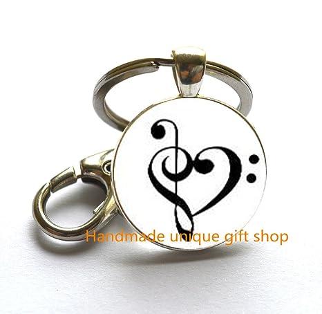 Amazon.com: Música Clave Anillo Llavero de corazón – Corazón ...