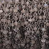 GemAbyss Beads Gemstone 10 Feet Labradorite 3mm-4mm Rosary Style Chain -Labradorite Beads in Black Wire Wrapped Beaded Chain Code-MVG-14274