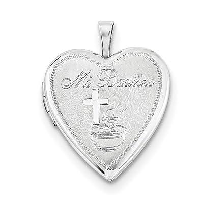 f87e12953f54 Plata de Ley 925 mi bautizo satinado y corazón Locket Charm colgante   Amazon.es  Joyería