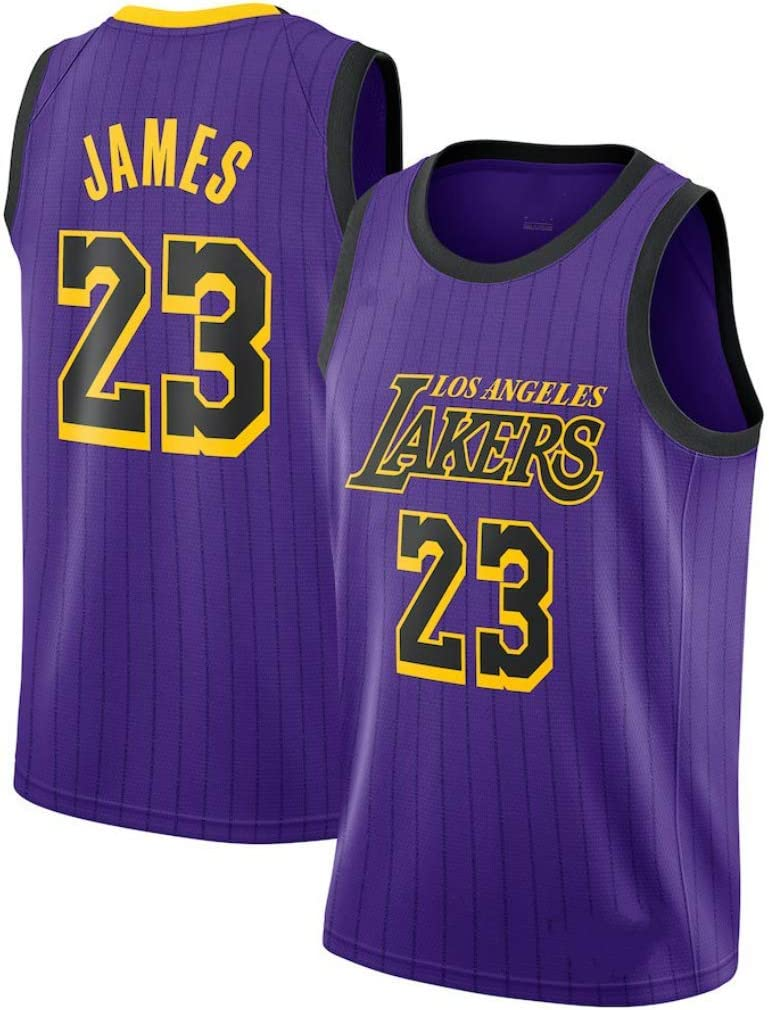 Nouveau Tissu Brod/é Swag Sportswear SansFin Lebron James Lakers City Edition Maillot De Basket-Ball