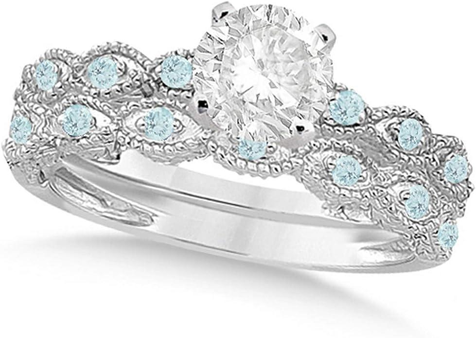Amazon Com 14k Gold Vintage Diamond And Aquamarine Engagement Ring And Wedding Band Bridal Set 1 20ct Jewelry