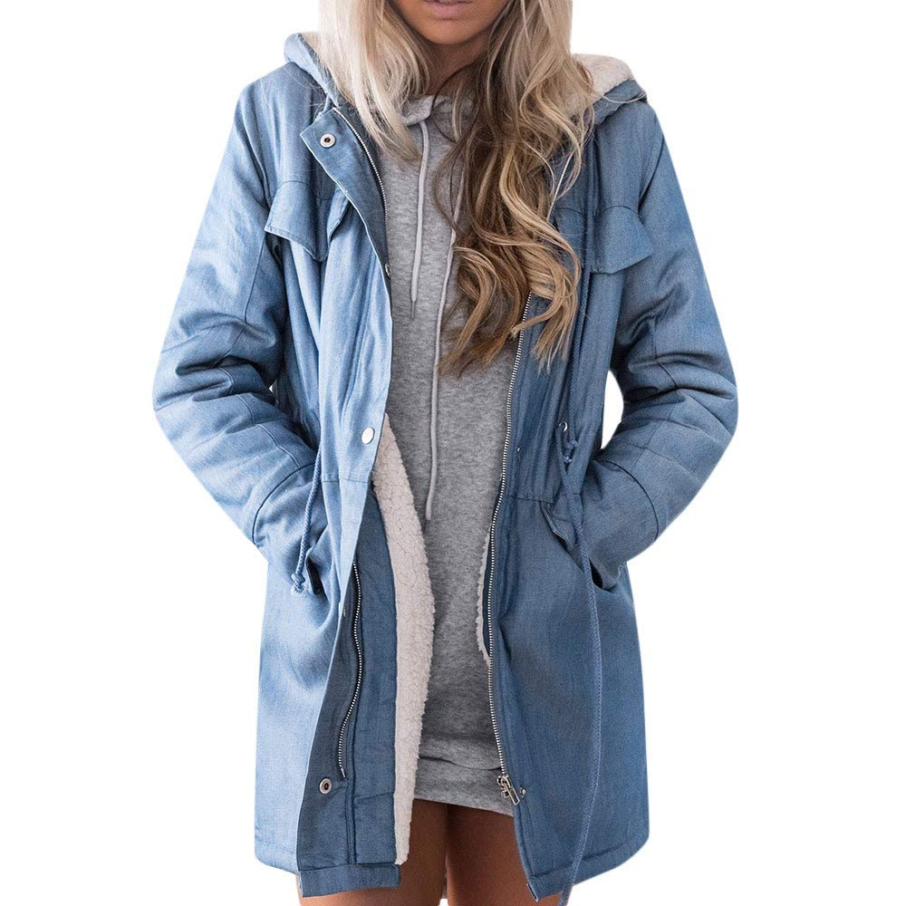 CHIDY Womens Warm Hooded Thickened Long Sleeve Denim Jacket Mid-Long Outwear Fleece Jacket Overcoat(XX-Large,Blue) by CHIDY