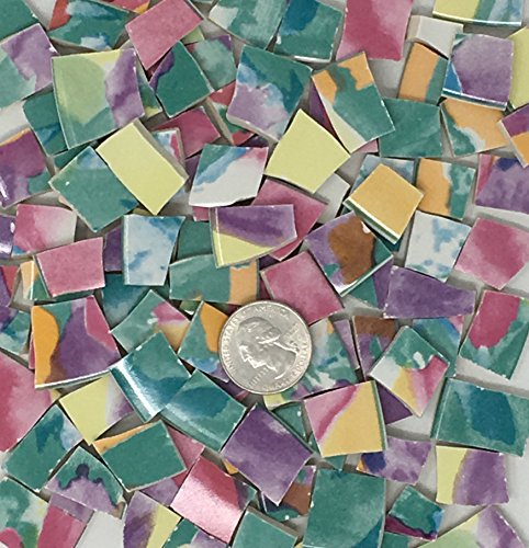 100+ Mosaic Tile Art Supply for Mosaics & Crafts ~ Multi-Colored Watercolor China Tiles (T#460) ()