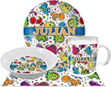 Dinosaur Print Dinner Set - 4 Pc (Personalized)