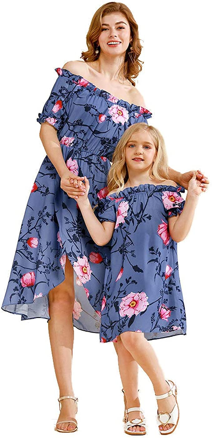 mommy and me outfits Indigo Handblock Print Summer Dress Mommy and me mother daughter matching outfits