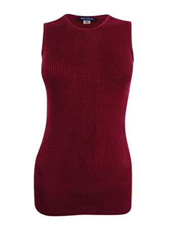 1cf52c5c0d Image Unavailable. Image not available for. Color  Tommy Hilfiger Womens  Ribbed Knit Asymmetric Tank Top Red M