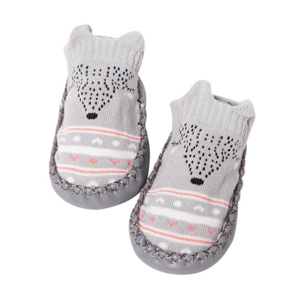 Chaussettes de sol pour bébé, AMEIDD Dessin animé nouveau-né bébé filles garçons chaussettes anti-dérapant chaussons chaussures bottes chaussettes pour 0-24 mois