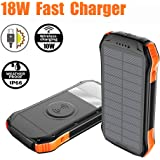 2020 Upgraded 18W QC3.0 & PD Fast Charger and 10W Qi Wireless Charge Portable Charger 16000mAh Solar Power Bank with 3 Output Ports IP66 Waterproof for iPhone 11/11Pro/11 Pro Max/XR/X/8/7 Plus, Galaxy S10/S9, MacBook Air, iPad Pro, Nintendo Switch, Camera & More