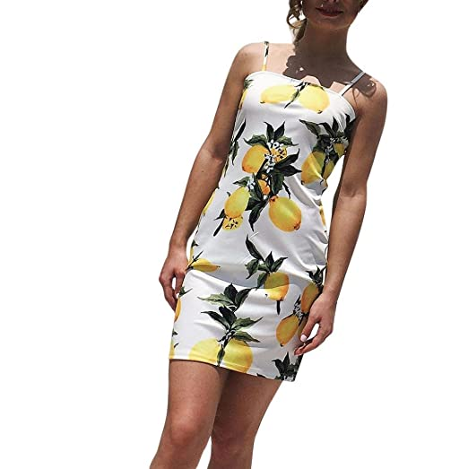 121d1791bd Owill Womens Camisole Mango Printing Buttocks Sandy Beach Sexy Mini Dress  (White
