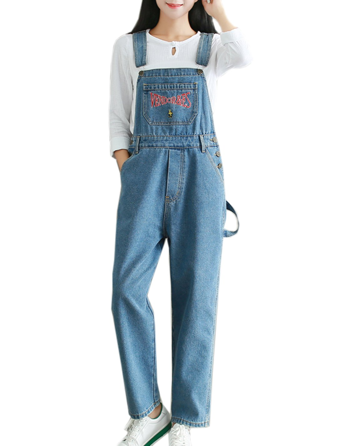 Flygo Women's Casual Vintage Embroidered Denim Bib Overalls Wide Leg Cropped Harem Pants Jumpsuit (Large, Blue)