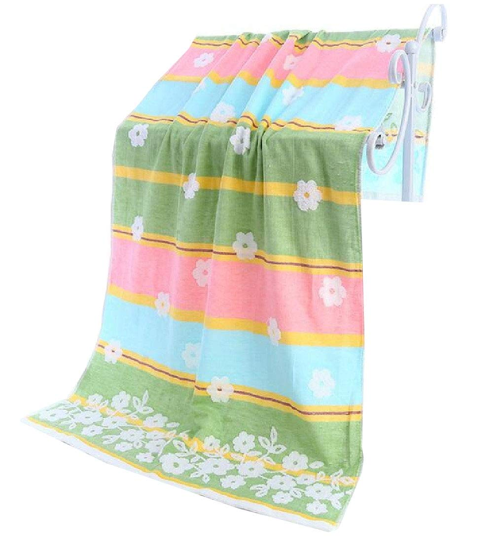 Doufine Towels Softness Eco-Friendly Floral Print Ideal for Everyday use Antibacterial Bath Sheet Green 70140cm