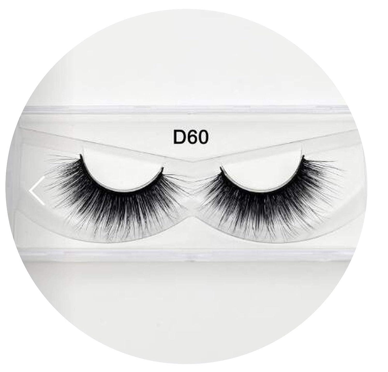 fbb1969a06f Amazon.com : 3D Silk Eyelashes Hand Made Natural Long Faux Mink Lashes  Vegan Cruelty Free False Lashes Extensions Maquiagem Makeup, Silk D60 :  Beauty