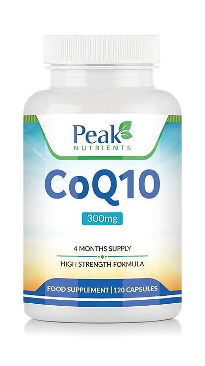 CoQ10 con Fórmula de Alta Concentración, 120 Cápsulas con 300 mg de Coenzima Q10 de Peak Nutrients