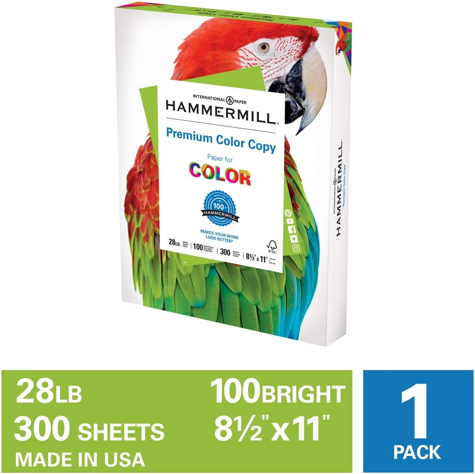 Hammermill Premium Color Copy 28lb Paper, 8.5x11, 1 Pack, 300 Sheets, Made in USA, Sustainably Sourced From American Family Tree Farms, 100 Bright, Acid Free, 102700R