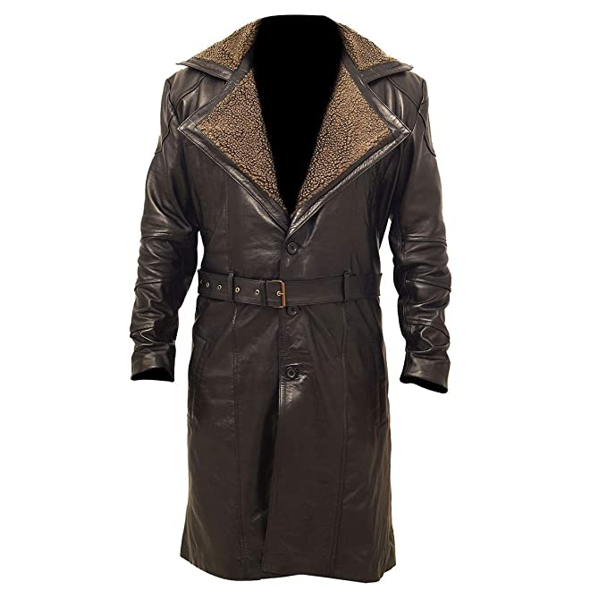 9e51daf79 Mine Jacket Mens Brown German WW2 Fur Long Trench Winter Coat ...
