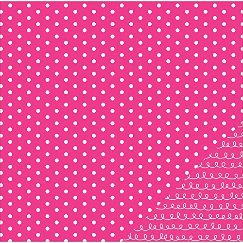 """American Crafts Basics Double-Sided Cardstock 12""""X12""""-Pink Dot"""
