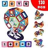 Everlife Shop Magnetic Building Blocks, 130 pcs Building Blocks Set, Kids Magnetic Toys Construction Stacking kits, Building Tiles Blocks for Creativity Educational, Come with Canvas toy Bag (Medium)