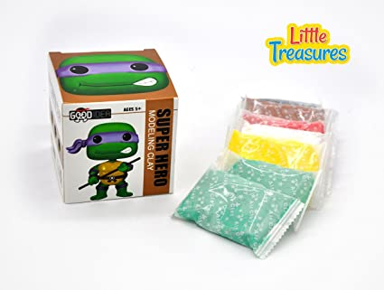 Little Treasures Turtle Ninja Clay Modeling and Sculpting DIY Play-Set - Create Your Favorite Cartoon Hero Characters with molding Play-Dough kit - a ...
