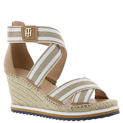 Tommy Hilfiger Yesia Women's Sandal 8.5 B(M) US Gold-White Stripe-