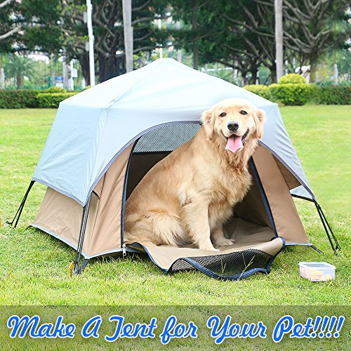 Yolafe Portable Pet Tent Cave Bed Playpen Kennel with Innovative Instant Setup Centre Hub Design Ideal for Camping with Cats and Dogs, Blue
