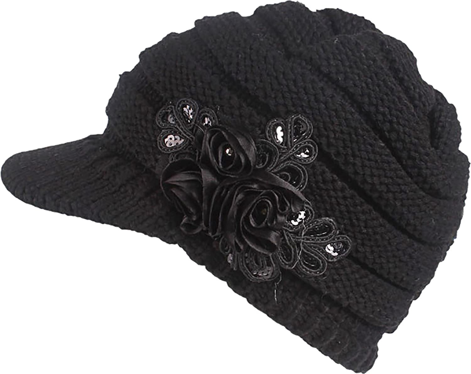 00ed7329898 Ababalaya Women s Winter Warm Cable Knitted newsboy Visor Cap Hat With  Sequined Flower