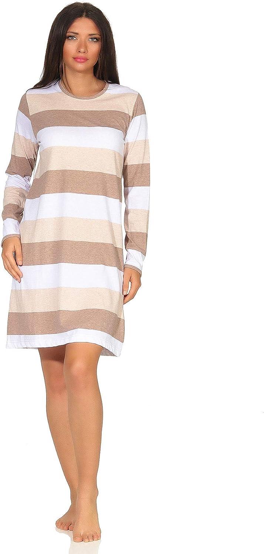NORMANN Womens Nightshirt Long Sleeve Striped Nightgown Cotton Sleepshirt S-4XL