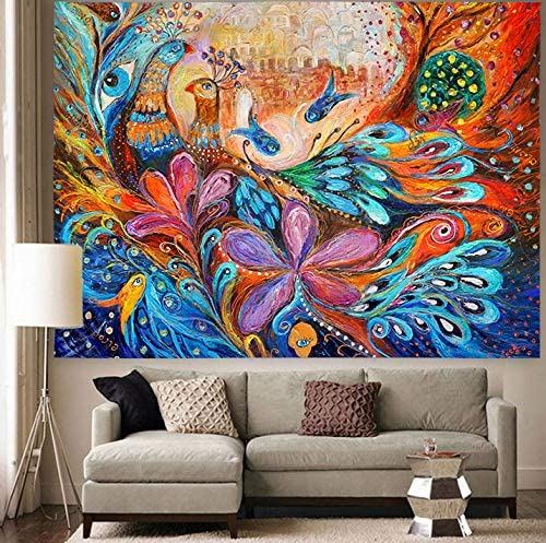 Simsant Phoenix Peacock Feather Gorgeous Colorful Beautiful Art Tapestry Blanket Backdrop for Bedroom Living Room Dorm Dormitory Wall Decor 02, 80 x60 203x152cm
